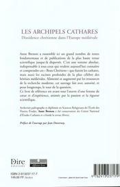 Les Archipels Cathares ; Dissidence Chretienne Dans L'Heurope Medievale - 4ème de couverture - Format classique