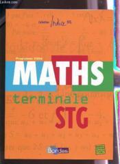 INDICE MATHS ; terminale STG ; enseignement obligatoire - Couverture - Format classique