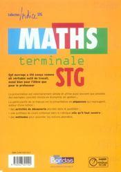 INDICE MATHS ; terminale STG ; enseignement obligatoire - 4ème de couverture - Format classique