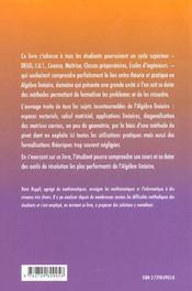 Algebre Lineaire Idees Et Methodes - 4ème de couverture - Format classique