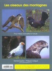 Les Oiseaux Des Montagnes - 4ème de couverture - Format classique