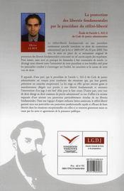 La protection des libertés fondamentales par la procédure du référé-liberté - 4ème de couverture - Format classique