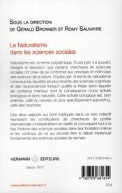 Le naturalisme dans les sciences sociales - 4ème de couverture - Format classique