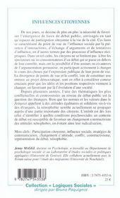 Influences Citoyennes ; Dynamiques Psychosociales Dans Le Debat Sur La Question Des Etrangers - 4ème de couverture - Format classique
