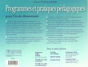 Programmes Et Pratiques Pedagogiques.Pour Ecole Elementaire - 4ème de couverture - Format classique