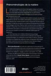 Phénoménologies de la matière - 4ème de couverture - Format classique