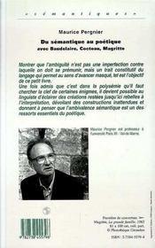 Du Semantique Au Poetique - 4ème de couverture - Format classique