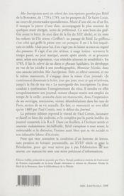 Mes inscripcions (1779-1785) - journal (1785-1789) - 4ème de couverture - Format classique