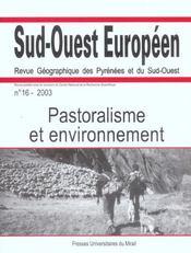 Pastoralisme et environnement revue sud ouest europeen n16 - Intérieur - Format classique