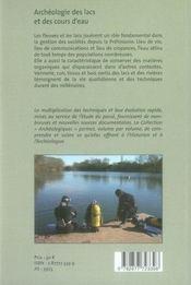 Archéologie des lacs et des cours d'eau - 4ème de couverture - Format classique