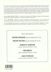 Récré-ourson ; jeux et exercices ; 5-6 ans - 4ème de couverture - Format classique