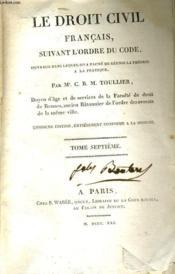 Le Droit Civil Francais, Suivant L'Ordre Du Code Tome Vii - Couverture - Format classique