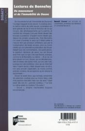 Lectures de Bonnefoy ; du mouvement et de l'immobilité de Douve - 4ème de couverture - Format classique