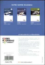 Code Rousseau ; option cotière (édition 2018) - 4ème de couverture - Format classique