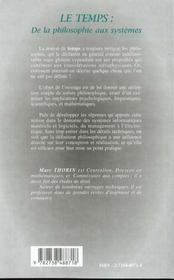 Le Temps ; De La Philosophie Aux Systemes - 4ème de couverture - Format classique