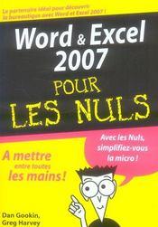 Word et excel 2007 pour les nuls - Intérieur - Format classique