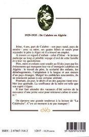 La Calabraise - 4ème de couverture - Format classique
