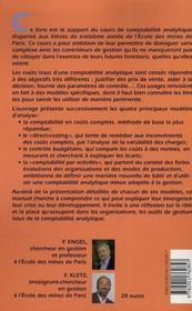 Cours de comptabilite analytique - 4ème de couverture - Format classique