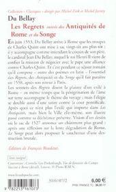 Les regrets ; les antiquités de Rome ; le songe - 4ème de couverture - Format classique