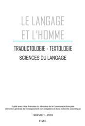 Traductologie Textologie Xxxviii 1 Sciences Du Langage - Couverture - Format classique