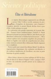 Élite et libéralisme - 4ème de couverture - Format classique