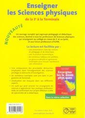 Enseigner les sciences physiques de la 3ème à la terminale (édition 2006) - 4ème de couverture - Format classique