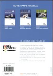 Code Rousseau ; test option cotière (édition 2018) - 4ème de couverture - Format classique