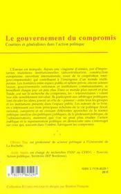 Le gouvernement du compromis ; courtiers et generalistes dans l'action politique - 4ème de couverture - Format classique