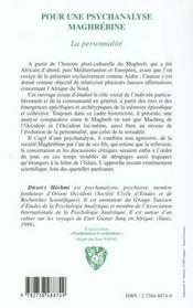 Pour Une Psychanalyse Maghrebine ; La Personnalite - 4ème de couverture - Format classique