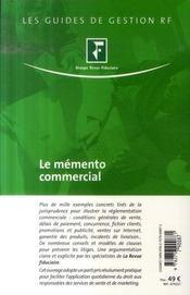 Le mémento commercial (5e édition) - 4ème de couverture - Format classique
