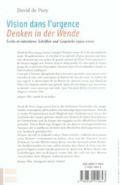 Vision Dans L'Urgence ; Ecrits Et Entretiens ; Denken In Der Wende ; Schriften Und Gesprache ; 1990-2000 - 4ème de couverture - Format classique