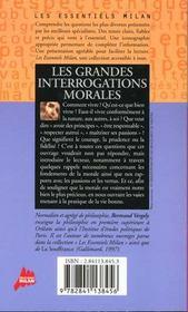 Grandes interrogations morales (les) - 4ème de couverture - Format classique