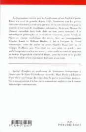 Lesconfesssions D'Un Mangeur D'Opium ; Synthese - 4ème de couverture - Format classique