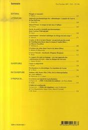 Revue Evolution Psychiatrique N.72-2 ; Littérature - 4ème de couverture - Format classique