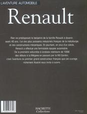 Aventure Automobile Renault - 4ème de couverture - Format classique