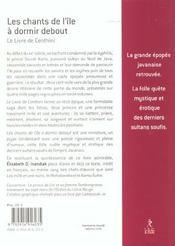 Les Chants De L'Ile A Dormir Debout ; Le Livre De Centhini - 4ème de couverture - Format classique
