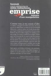 L'emprise ; histoire d'une manipulation - 4ème de couverture - Format classique