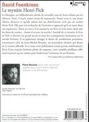 Le mystère Henri Pick - 4ème de couverture - Format classique