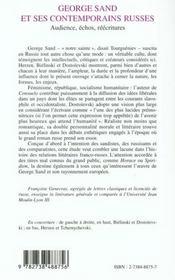 George Sand Et Ses Contemporains Russes ; Audience, Echos, Reecritures - 4ème de couverture - Format classique