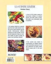 La cuisine légère - 4ème de couverture - Format classique