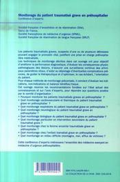 Monitorage du traumatise grave - 4ème de couverture - Format classique