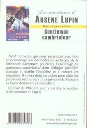 Arsène Lupin, gentleman cambrioleur - 4ème de couverture - Format classique