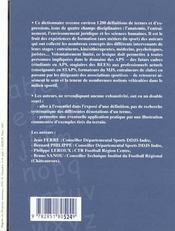Dictionnaire des activités physiques et sportives - 4ème de couverture - Format classique