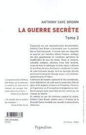 La guerre secrete t2 - 4ème de couverture - Format classique