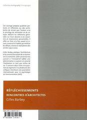 Réfléchissements ; rencontres d'architectes - 4ème de couverture - Format classique