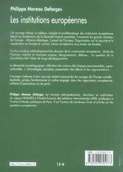Les institutions européennes (7e édition) - 4ème de couverture - Format classique