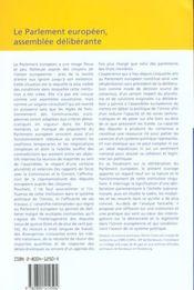 Le Parlement Europeen, Assemblee Deliberante - 4ème de couverture - Format classique