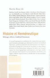 Histoire et hermeneutique - 4ème de couverture - Format classique
