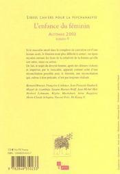 Libres cahiers pour la psychanalyse n8 2003 - l'enfance du feminin - 4ème de couverture - Format classique