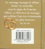 Petit Livre Du Mariage - 4ème de couverture - Format classique